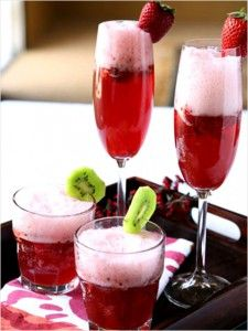 Strawberry Kiwi Champagne Cocktails