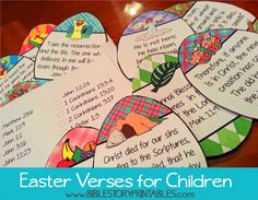 10 Easter Bible Verses for Kids.  Start in February for one verse a week up to Easter.  Includes storage pocket and checklist. sunday school, holiday, vers printabl, easter crafts, kid