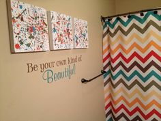 Fun Bathroom! #Chevron #uppercaseliving ((Does not go to a specific link, and I couldn't find the original by Googling the image. But I really like this for possibly the kids new bathroom. Looks like it could be unisex...maybe? S.))