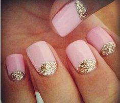 Glam Glitter Nails: Pretty In Pastel. Take your everyday pink from neutral to turbo-charged. A reverse French manicure with a pastel pink base and a gold outline create a delicate, flirty look. #SelfMagazine