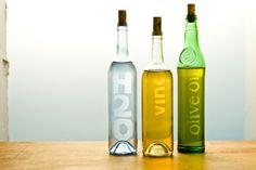 "Recyce your glass bottles by ""etching"" new labels for other uses (olive oil, vinegar, bath salts, etc)"