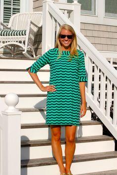 Navy/green wave Yacht Club Dress