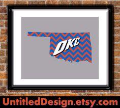OKC Thunder Print $13.00, via Etsy.