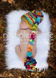 NEWBORN Photography Prop - Baby Knit Hat -  Elf - Rainbow