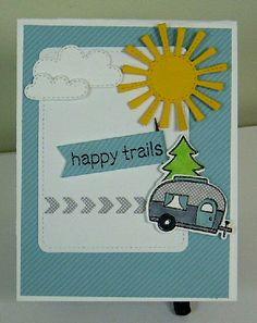 Lawn Fawn - Stitched Journaling Card, Spring Showers, Happy Trails stamps and coordinating dies _ card by Donna Flickr - Photo Sharing!