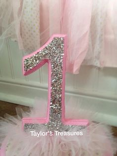 Taylors Treasures - 1st  2nd 3rd 4th Birthday Centerpiece - Photo Prop - Tutu Sparkle Cake Topper -Cake Smash - Any Color -Perfect for Photo