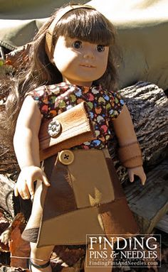 Sew a leather wrap skirt, shirt and accessories for American Girl Dolls. #free #dollclothes