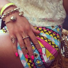bracelet, short, color, accessori, fashion styles, pink nails, outfit, arm candies, style fashion