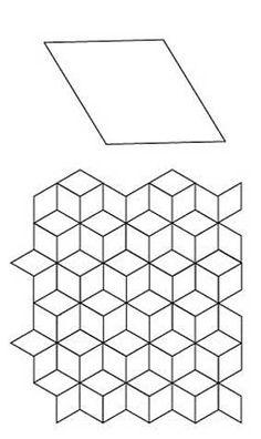 English Paper Piecing 6 Point Diamond Layout Pattern