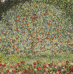 "Gustav Klimt – Apple Tree – oil on canvas 1912. Original title ""Apfelbaum"". This was one of five Gustav Klimt paintings that were recovered and restored to the heirs of the Bloch-Bauer estate after they were looted by the Nazis. The painting is in the Belvedere in Vienna."