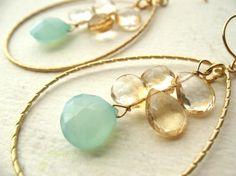 Beach Wedding Earrings Aqua Chalcedony and by BlueDoveStudio, $40.00