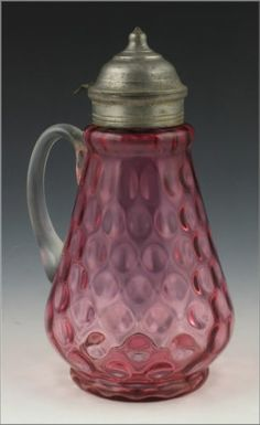 Lovely 19th C Cranberry Blown Glass Syrup JUG glass syrup, colour glass, blown glass, glass galor
