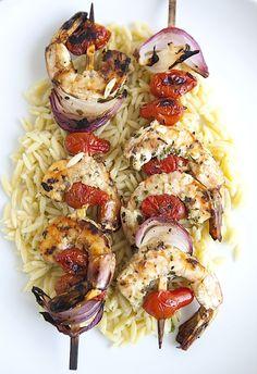 Grilled Herbed Shrimp Skewers - Chez Us.  #grilling #bbq #shrimp #seafood #recipe