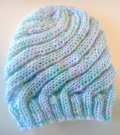 Beanie Hat Knit Swirl Blue Newborn by PreciousBowtique on Etsy, $6.00