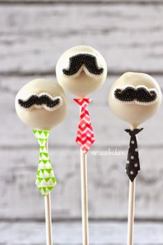 Groom your 'stache and dress up your Cake Pops for Father's Day. From @pintsizedbaker