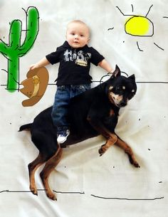 My son riding our dog like a horsey!  Cowboy baby!!! :) How to make cool baby pictures - DIY awesome baby photo - just lay your baby on a sheet and paint on the photo in any paint program on your computer. Unique Baby photos. Baby picture with dog. Funny baby photos. Please note my son was photoshopped onto the dog - I would not attempt to place your child on your pet. :) 3 month old baby photo ideas. 6 month old baby photo ideas.