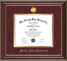Florida State University Diploma frame - FSU - with hardwood moulding and 24k Gold-Plated FSU medallion and school name embossing.  Garnet suede on gold mat and UV glass to prevent your hard-earned achievement from fading and to keep those memories alive! diploma frame