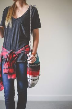 Flannel grunge. Grey gray vneck v neck tee t shirt chill casual relaxed outfit spring summer