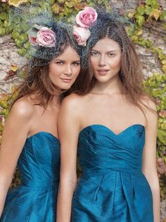 Love the pink roses + blue netting in their hair bridesmaids, pink roses, color, the dress, hair accessories, french blue, pastel hair, dress styles, blue bridesmaid dresses