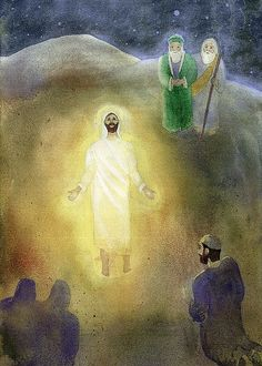 The Transfiguration of Jesus.  James, John and Peter look upon Jesus who is transfigured before them and Elijah and Moses. A voice from the cloud said, 'This is my beloved Son, with whom I am well pleased; listen to him.'