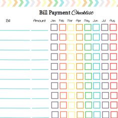monthly bill log template
