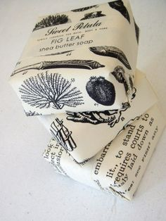 Packaging Ideas and Inspiration. Copy book pages for wrapping paper…black and white looks great!