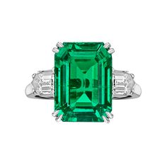 Van Cleef & Arpels 8.20 Carat Colombian Emerald-Cut Emerald & Diamond Ring | Betteridge