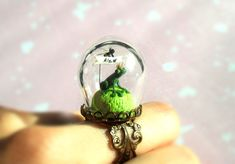 """Green Ring """"A Little Prince Frog want a kiss"""" - Spring ring with terrarium- glass globe. $69.00, via Etsy."""