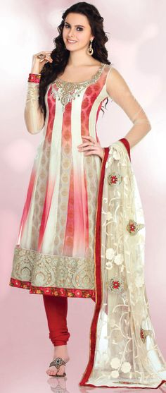 Off White and Light Red Net Churidar Kameez @ $134.47