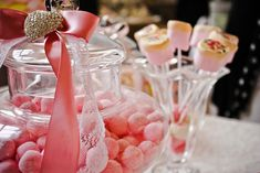 Pink vintage candy buffet