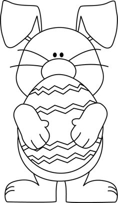 Black and White Easter Bunny Hugging an Easter Egg Clip Art - Black and White Easter Bunny Hugging an Easter Egg Image