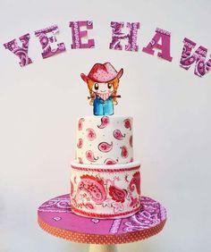 Cute Paisley Cow Girl Birthday Cake