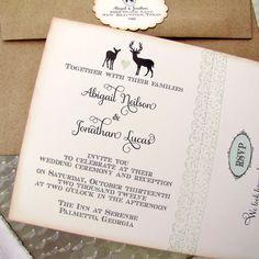 Rustic Woodland Wedding Invitation Doe and Buck Silhouettes.