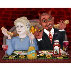 Dinner with the Devil print by FullFrogMoon.