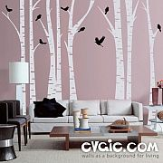 Birch Trees Wall Decal – Forest with Birds – evgie