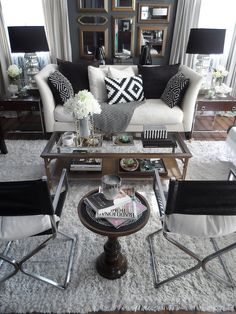 Black and white living room decor, mirror, white living, living rooms, color, focal points, black white, hous, live room