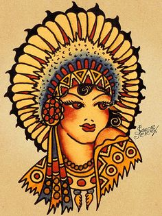 sailor jerry drawing of native american woman // tattoo drawing