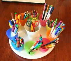 Art Supply Caddy - get a lazy susan and glue the plastic cups in place!