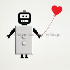 Robot with Heart Wall Sticker for Light Switches - Mini Stickers - Vinyldesign