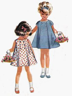 60s Vintage Toddler Girls Pattern McCalls 6744 Front Buttoned Dress Size 1 Breast 20 inches. $10.00, via Etsy.
