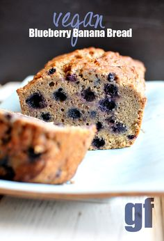 My Famous {Blueberry Banana Bread} Made Vegan/GF #Vegan #Bread #Recipe