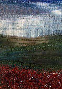 Poppy field fabric landscape beaded fabric art by StitchMikki