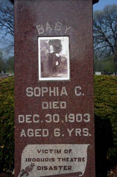 Sophia Victim of The Iroquois Theatre Disaster Dec 30 1903