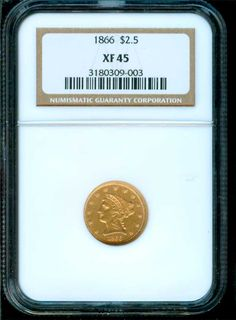 Rare 1866 $2.50 Gold NGC EF45 - $3978.00 - check out www.brokencc.com for this and many more cool rarities.