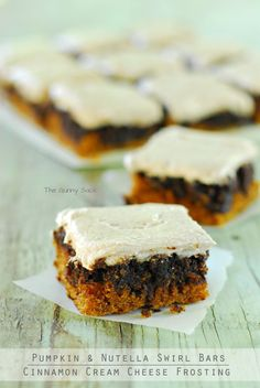 Pumpkin Nutella Swirl Bars with Cinnamon Cream Cheese Frosting @Toni Aladekomo {The Gunny Sack} #pumpkindessert #recipe