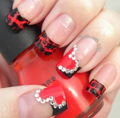 """Valentine Crackle w/ Bling"" nail art by Tawnee L. Cordova.     Follow me on Pinterest and Facebook for NEW designs every week!"