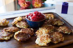 Thanksgivukkah recipe - Sweet potato latkes. with cranberry-apple sauce