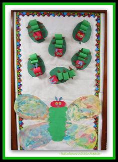 Eric Carle Caterpillar to Butterfly Bulletin Board from Eric Carle RoundUP at RainbowsWithinReach