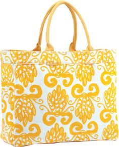 pineapples, mothers day, palm beach, pineappl yellow, yellow carryal, beach bags, summer bags, carryal tote, tote bags