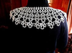 Tatted lace white collar